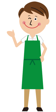 A guy in a green apron will show off