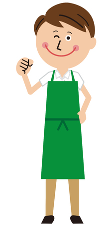 A guy wearing a green apron poses motivated Çizim