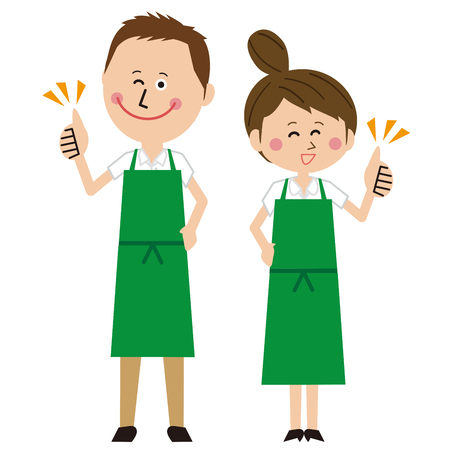 A man and a woman couple in a green apron say Like! Pose