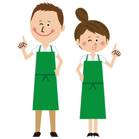 A man and a womans couple in a green apron pose pointing Çizim