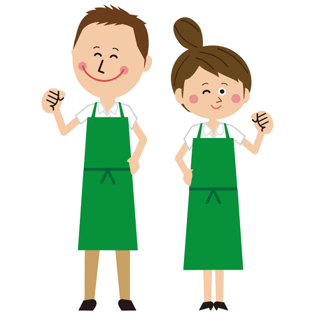A man and a womans couple in a green apron are motivated pose