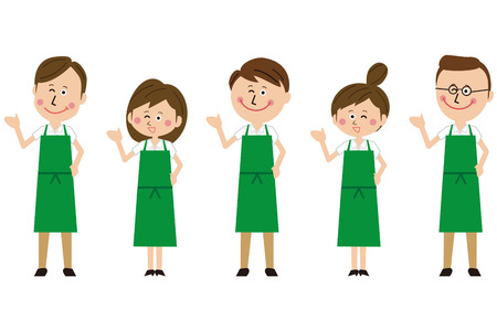 Gender group of green aprons will guide you Stok Fotoğraf - 104887801