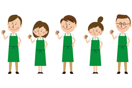 Gender group of green aprons motivated pose