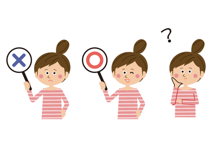 A woman holding her hair has ?, x ? Illustration