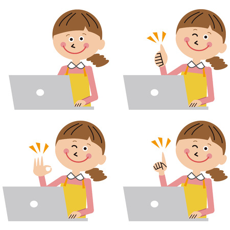 Positive pose by mother in front of laptop