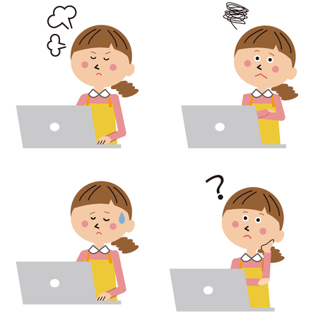 Mother in front of laptop and negative pose Illustration