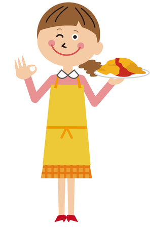 A mother with an omelet rice OK pose with a smile