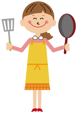Mother with frying pan and frying smile