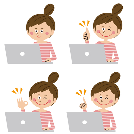 A woman who ups her hair positively poses in front of the laptop