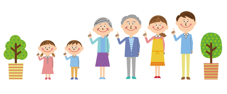 All the family members pose with pointing Illustration
