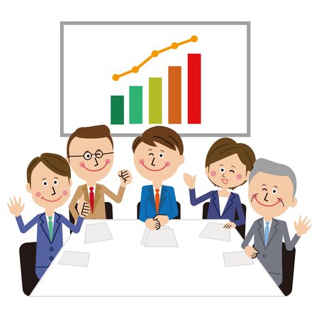 Five people talking about work in the conference room greet the graph behind