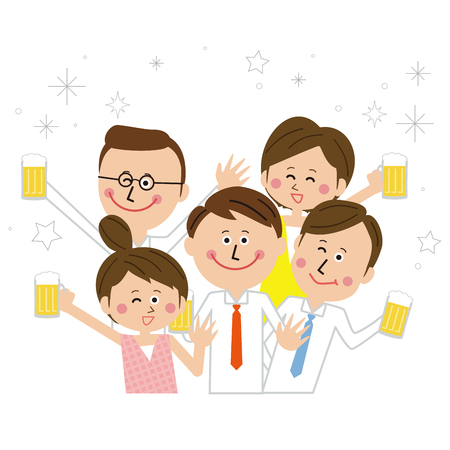Five colleagues cheerfully toast with beer