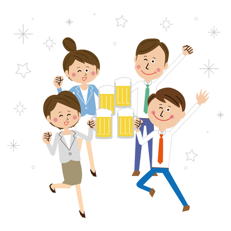 Four colleagues cheerfully toast with beer Stock Illustratie
