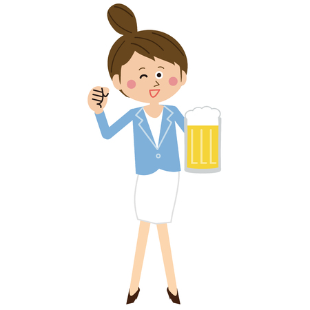 A pop young woman winks with beer and motivated pose Illustration