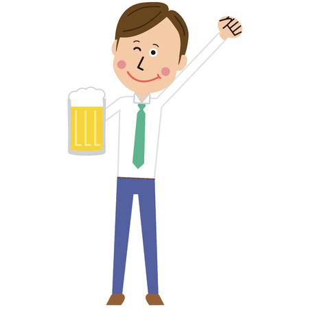 A pop young man winks with beer and motivated pose