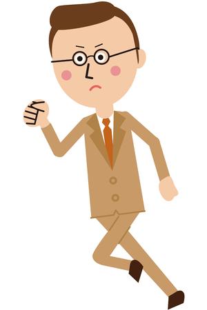 Pop-style beige suit businessman runs 向量圖像