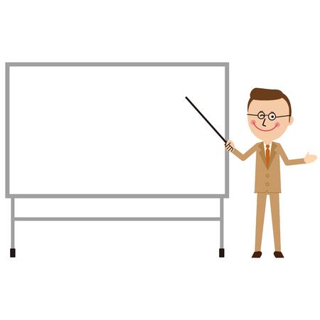 A businessman of a pop beige suit makes a presentation