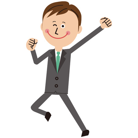 A businessman of a pop gray suits motivates and jumps  イラスト・ベクター素材