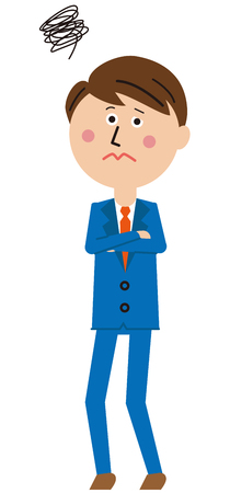 A salaryman of a pop blue suit, worrying, Whole body