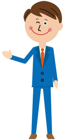 A salaryman of a pop blue suit, introduction, whole body Vektorové ilustrace