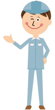 A man of a worker in a pop blue uniform winks and guides