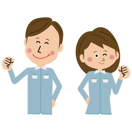 """Men and women of blue pop uniform blue uniforms pose """"motivated"""""""