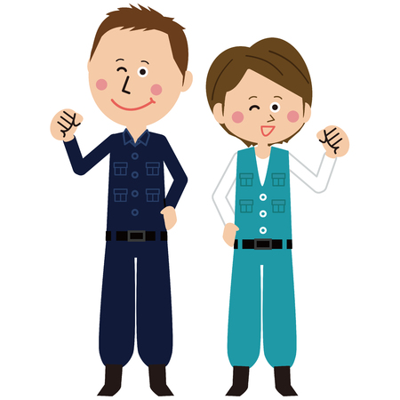 A pair of male and female pop construction work is motivated pose