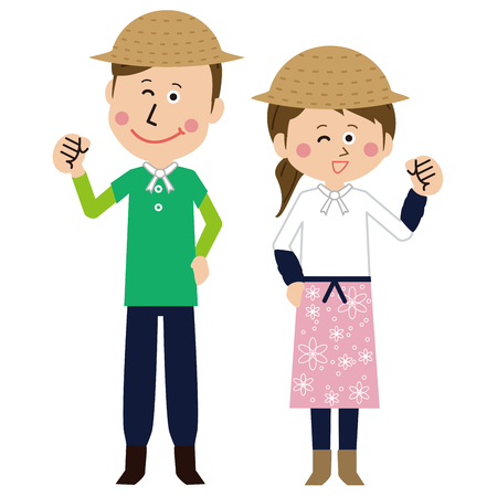A pair of pop farmers  men and women pose motivated  イラスト・ベクター素材