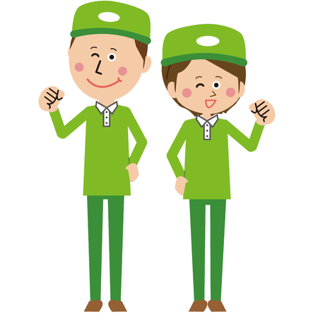 A pair of popular couriers men and women pose motivated  イラスト・ベクター素材