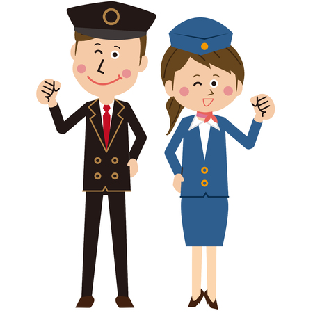A pair of male and female pop drivers and guides pose motivated