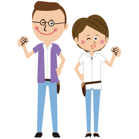 A pair of popular hairdressers male and female motivated pose  イラスト・ベクター素材