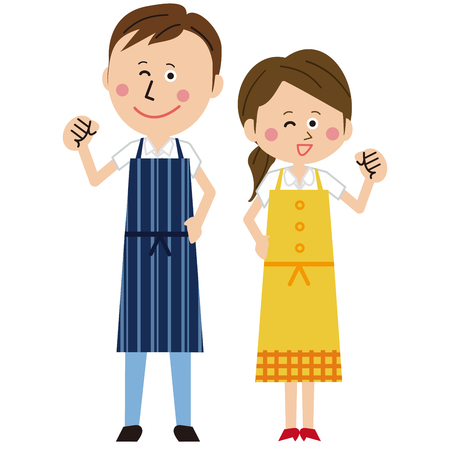 A pair of men and women in a pop apron poses motivated