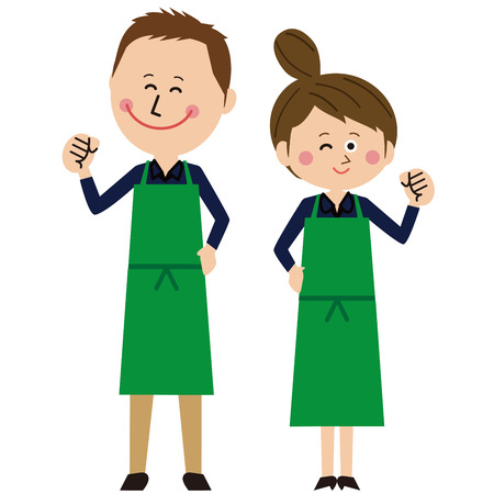 A pair of men and women in a pop green apron poses motivated