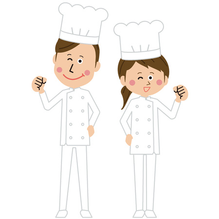 A pair of male and female cooks of pop western food is motivated pose