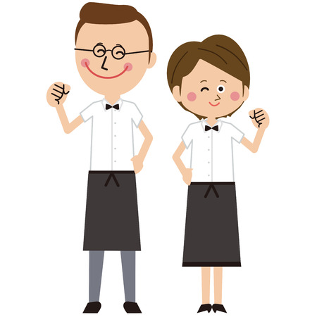 Pop waiter and waitress pair of men and women pose motivation