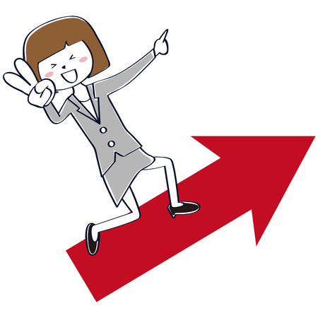 A woman with a gray suit rides on an upward arrow and a piece sign