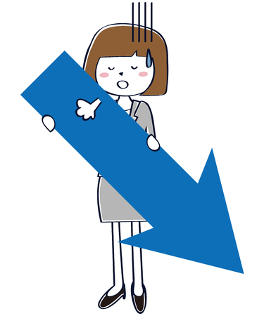 A woman with a gray suit falls with a downward pointing arrow Illustration