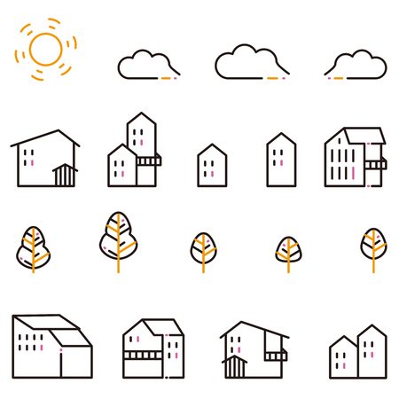 Icon in a residential area of a three-color line drawing