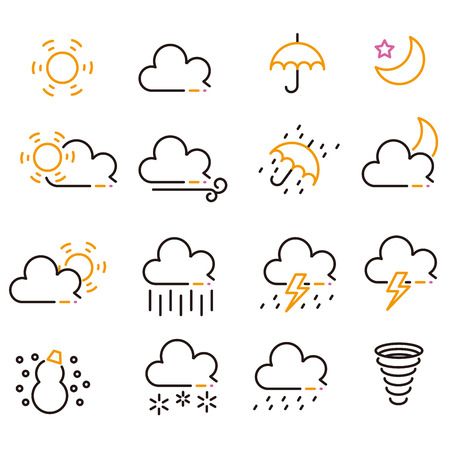 Three-color line drawing weather icon black keynote