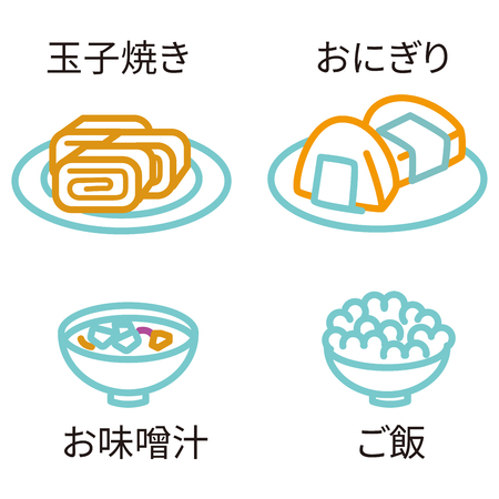 Three-color line drawing icon Japanese food Illustration