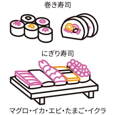 Three-color line drawing icon Sushi black keynote Illustration