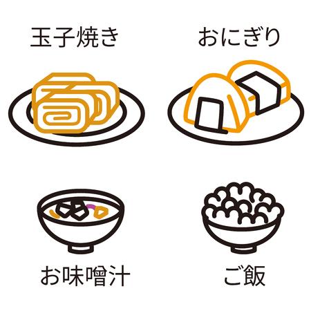 Three-color line drawing icon Japanese food black keynote