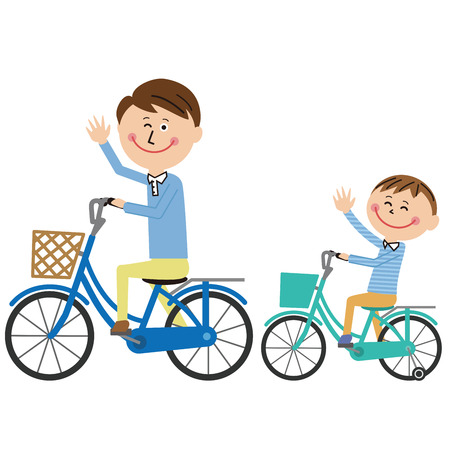 Pop family Daddy and son go out by bicycle Vettoriali