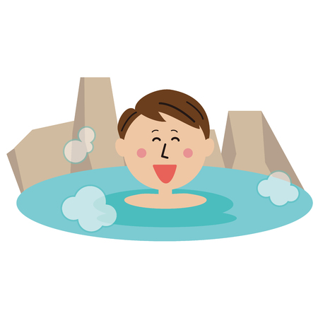 man relax in the open-air bath  イラスト・ベクター素材