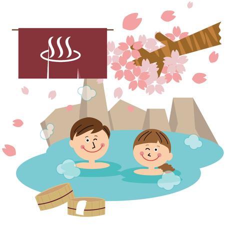 An open bath in a family couple