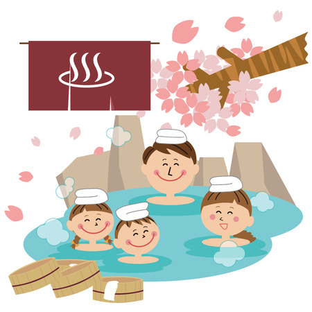 Hot spring with all family 矢量图像
