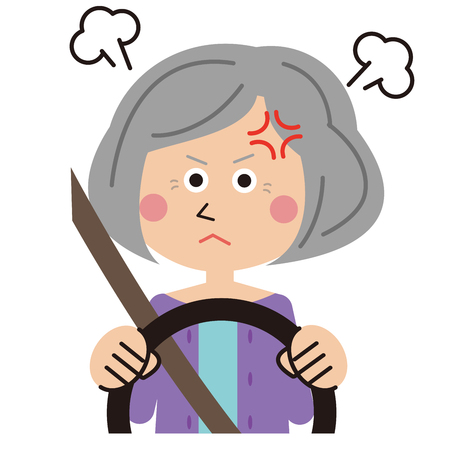 senior woman gets up while driving Illustration