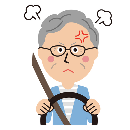 senior man get angry while driving Illustration