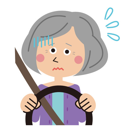 senior woman scared while driving