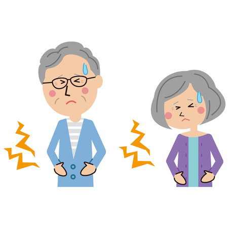 Stomachache of a senior couple